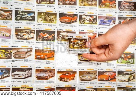 March 28, 2021 Minsk, Belarus. Hobby Collecting Vintage Bombibom Gum Wrappers