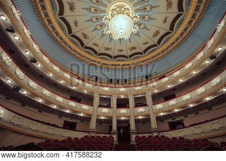 Batumi, Georgia, December, 22, 2020: Batumi Drama Theater. The Interior Of The Hall In The Theater W