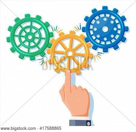 Businessman Hands Joining Three Gears Together. Business Team And Teamwork Concept. Partnership, Bus