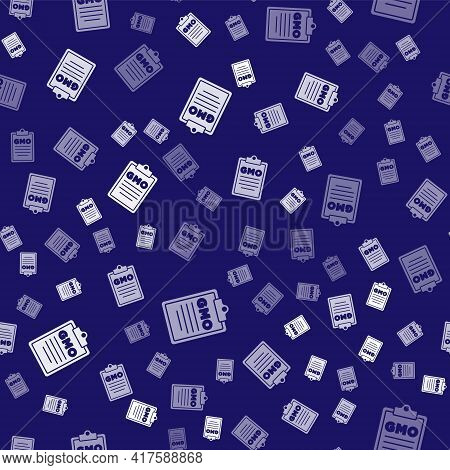 White Gmo Icon Isolated Seamless Pattern On Blue Background. Genetically Modified Organism Acronym.