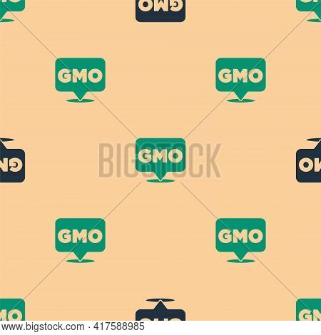 Green And Black Gmo Icon Isolated Seamless Pattern On Beige Background. Genetically Modified Organis