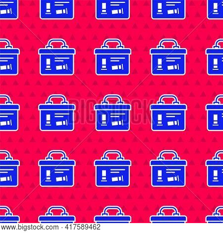 Blue Military Ammunition Box With Some Ammo Bullets Icon Isolated Seamless Pattern On Red Background