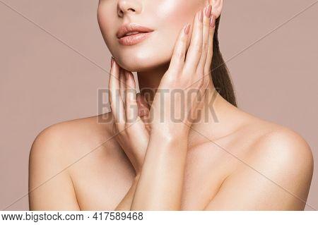 Woman Beauty Treatment, Model Touching Perfect Clear Face Skin, Beautiful Girl Makeup Close Up, Skin
