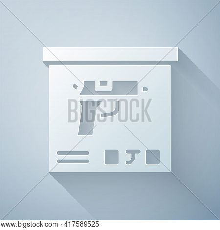 Paper Cut Military Ammunition Box With Some Ammo Bullets Icon Isolated On Grey Background. Paper Art
