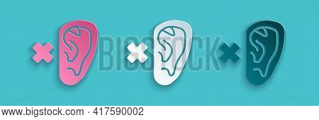 Paper Cut Deafness Icon Isolated On Blue Background. Deaf Symbol. Hearing Impairment. Paper Art Styl