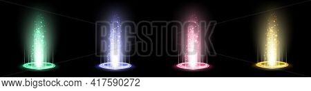 Color Hologram Portals Set. Magic Fantasy Portal. Magic Circle Teleport Podium With Hologram Effect.