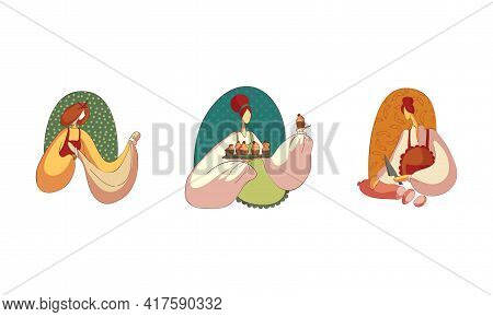 Woman In Apron Kneading Dough, Baking Cupcakes And Slicing Wurst Vector Set