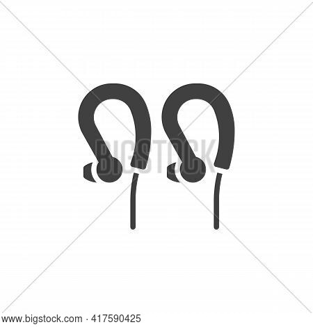 Sports Earphones Vector Icon. Filled Flat Sign For Mobile Concept And Web Design. Wired Earphones Gl