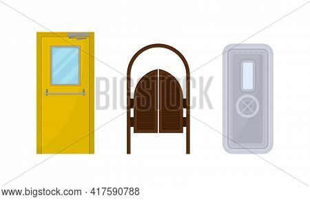 Door As Movable Barrier Used As Entrance In The Building Vector Set