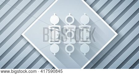 Paper Cut Grilled Shish Kebab On Skewer Stick Icon Isolated On Grey Background. Meat Kebab On Skewer