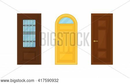 Door As Hinged Movable Barrier Used As Entrance In The Building Vector Set