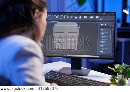 Engineer Looking At Cad Software 3d Prototype Design Concept Of Container