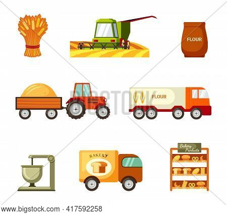 Collection And Transportation Grain And Baking Set. Green Harvester Mowing Wheat And Tractor Trailer
