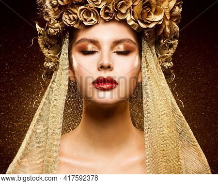 Crown Woman Golden Make Up. Fashion Girl Portrait With Closed Eyes. Bridal Gold Eye Shadow And Lipst