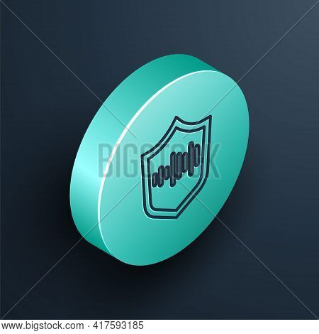 Isometric Line Shield Voice Recognition Icon Isolated On Black Background. Voice Biometric Access Au