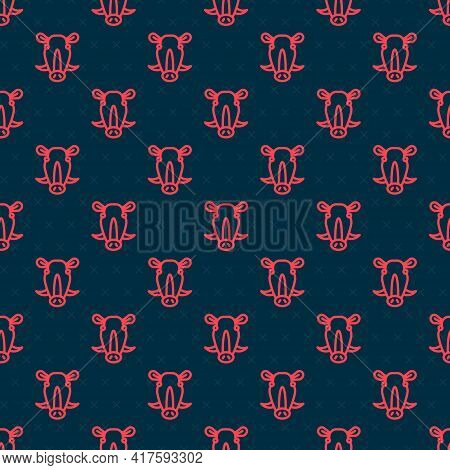 Red Line Wild Boar Head Icon Isolated Seamless Pattern On Black Background. Animal Symbol. Vector