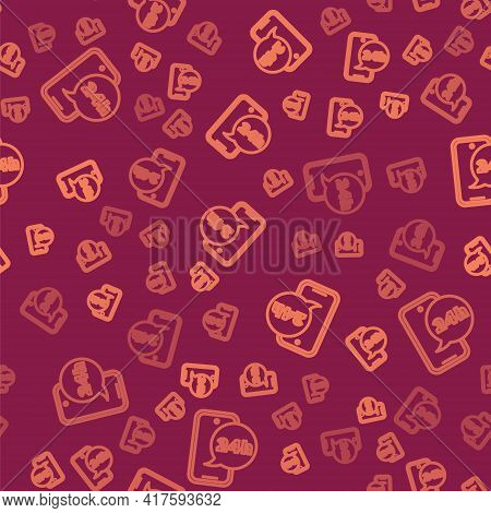 Brown Line Food Ordering Icon Isolated Seamless Pattern On Red Background. Order By Mobile Phone. Re