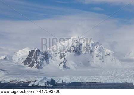 Icebergs. Antarctica Ice Landscape, Climate Change. Extreme Expedition.