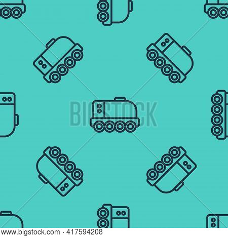 Black Line Mars Rover Icon Isolated Seamless Pattern On Green Background. Space Rover. Moonwalker Si