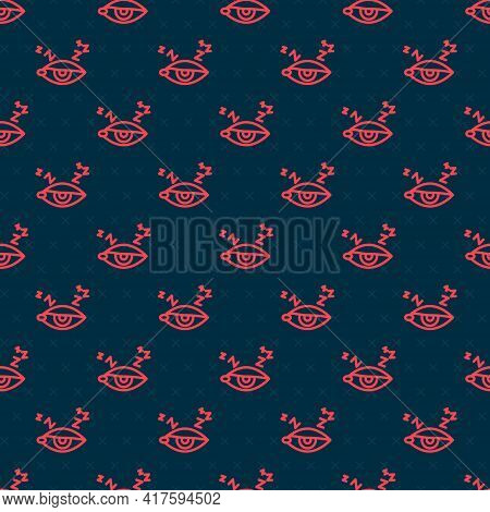 Red Line Insomnia Icon Isolated Seamless Pattern On Black Background. Sleep Disorder With Capillarie