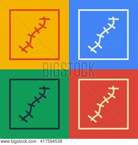Pop Art Line Scar With Suture Icon Isolated On Color Background. Vector