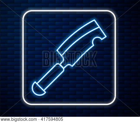 Glowing Neon Line Meat Chopper Icon Isolated On Brick Wall Background. Butcher Knife. Kitchen Knife