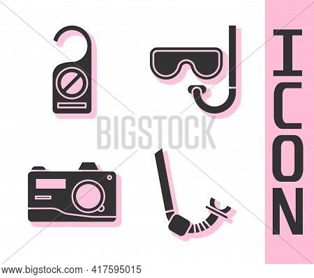 Set Snorkel, Please Do Not Disturb, Photo Camera And Diving Mask And Snorkel Icon. Vector