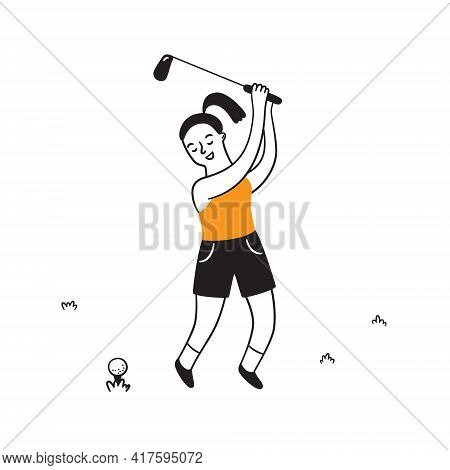 Hand Drawn Golf Player With Club. Golfer In Doodle Style. Isolated Vector Illustration On White Back