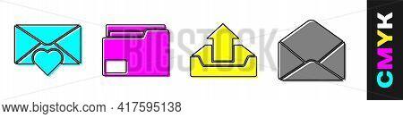 Set Envelope With Valentine Heart, Document Folder, Upload Inbox And Envelope Icon. Vector
