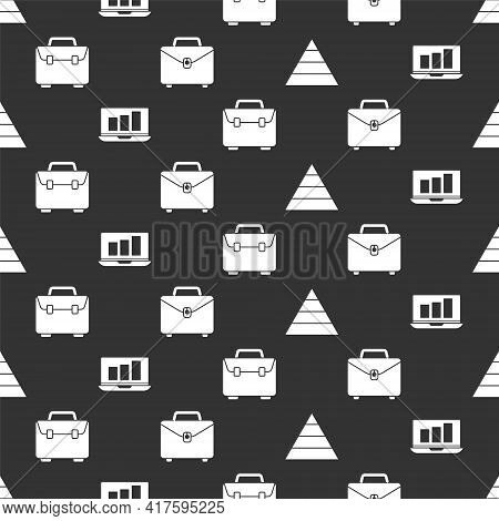 Set Pyramid Chart Infographics, Laptop With Graph Chart, Briefcase And Briefcase On Seamless Pattern