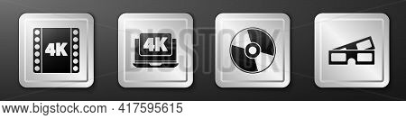 Set 4k Movie, Tape, Frame, Laptop With 4k Video, Cd Or Dvd Disk And 3d Cinema Glasses Icon. Silver S