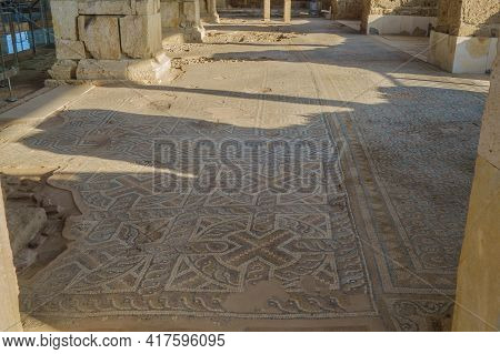 Remains Of Ancient Floor Mosaics In Ruined Church. Ornaments Are Mixing Geometrical Elements & Early