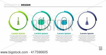 Set Witches Broom, Halloween Witch Cauldron, And . Business Infographic Template. Vector