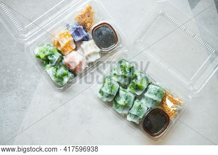 Mix Of Various Steamed Dumpling Stuffed Such As Garlic Chives, Taro And Bamboo Shoot With Sweet Sauc