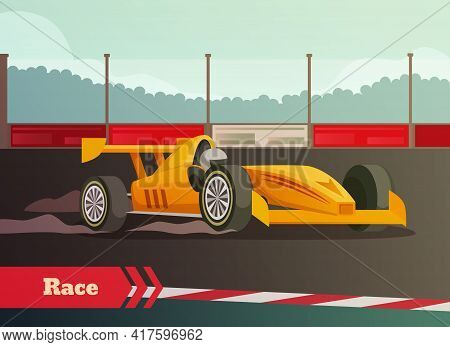 Racing Flat Background With Images Of Fast Racing Car And Driver On Race Track With Kerbsides Vector