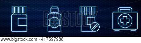 Set Line Medicine Bottle And Pills, Medicine Bottle, Bottle Of Medicine Syrup, First Aid Kit And Cro
