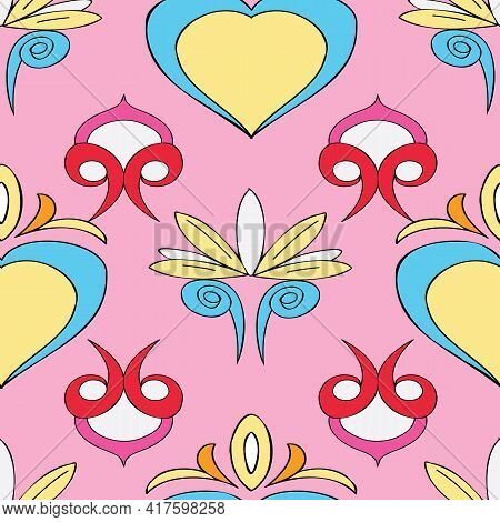 Vector Pink Background Brittany Celtic, Breton Trational Folklore Symbols Seamless Pattern. Seamless