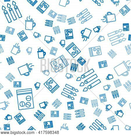 Set Line Plastic Bag Of Drug, Birthday Cake Candles And Mulled Wine On Seamless Pattern. Vector