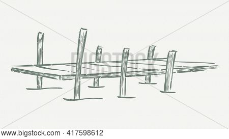 Muted green bridge linocut in cute illustration