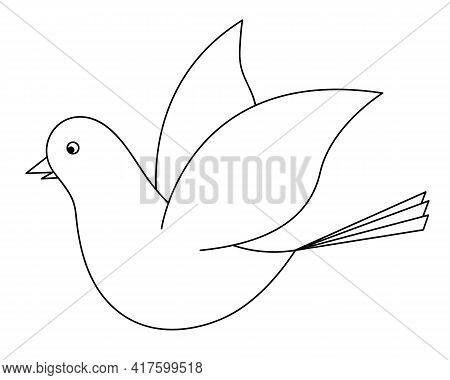 Dove. Sketch. The Bird Flaps Its Wings. Pigeon Is A Symbol Of Peace. Snow-white Bird. Vector Illustr