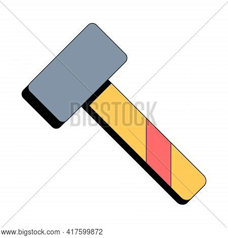 Yellow Sledgehammer. Building Tool. Construction Equipment. Vector Illustration In Flat Style On Whi