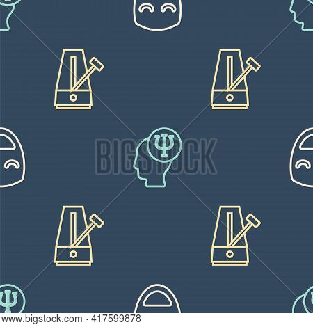Set Line Comedy Theatrical Mask, Metronome With Pendulum And Psychology, Psi On Seamless Pattern. Ve