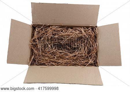 Shredded brown paper packaging in cardboard box