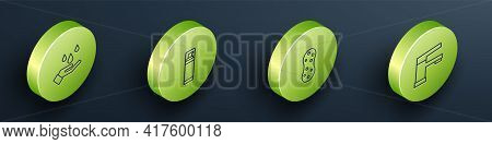 Set Isometric Washing Hands With Soap, Shaving Gel Foam, Sponge And Water Tap Icon. Vector