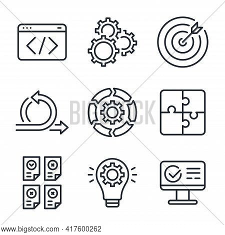 Scrum And Agile Software Methodology Related Editable Stroke Outline Icons Set Isolated On White Bac