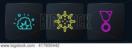 Set Line Bomb Explosion, Military Reward Medal And Naval Mine. Black Square Button. Vector