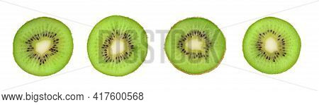 Closeup Slice Of Green Kiwi Fruit Isolated On White Background. Ripe Fresh Juicy Fruit Round Slices