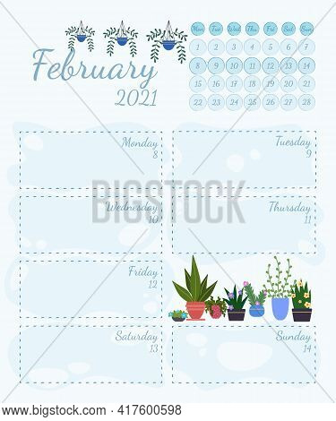 Wall Calendar Page Template With Seasonal Graphics For Month. February Winter Themed Calender Page