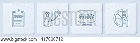 Set Line Gmo, , Gmo Research Chicken And Genetically Modified Orange. White Square Button. Vector
