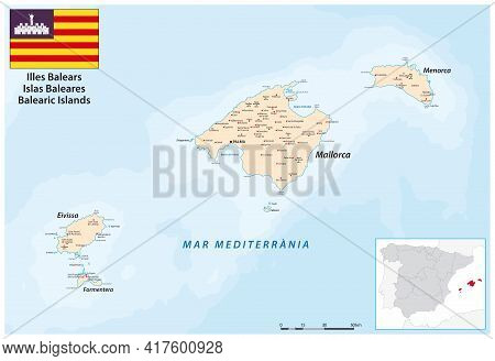 Vector Map Of The Balearic Islands In The Western Mediterranean Sea
